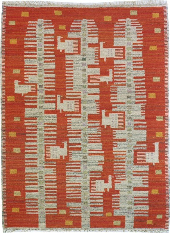 Traditional Zone Swedish Kilim Orange Modernist Peacock Mid-20th century152 x 196cm dealer: The Nemati Collection, New York