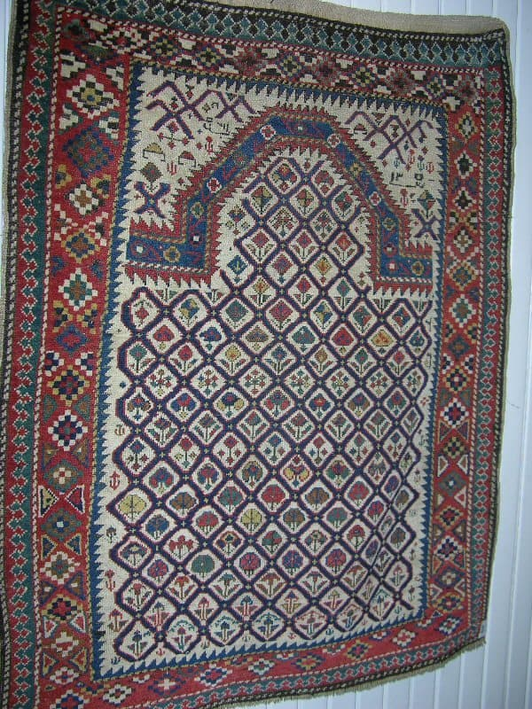 Daghestan prayer rug from the 19th century. Size 134 x 98 cm. (Preview Bruun Rasmussen rug auction 14 June 2005)