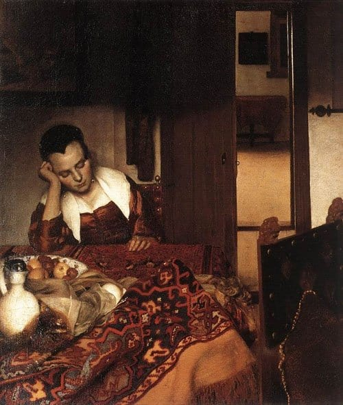 Painting Vermeer Sleeping Maid - Classical Anatolian carpet revival