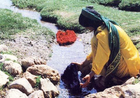 washing yarn - Departing for the Anemone - Art in Gashgai Tribe by M. Kiani