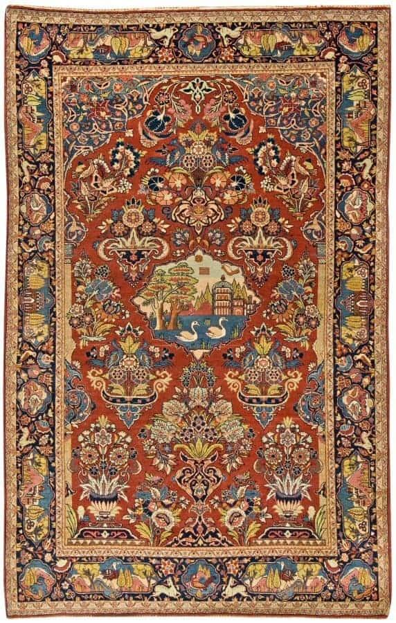 Lot 1198, a semi-antique Kashan rug