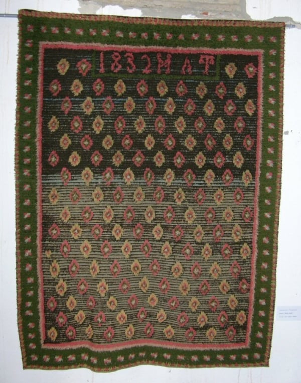 Rya wedding rug dated 1832 (Rya rug exhibition at Sartirana)
