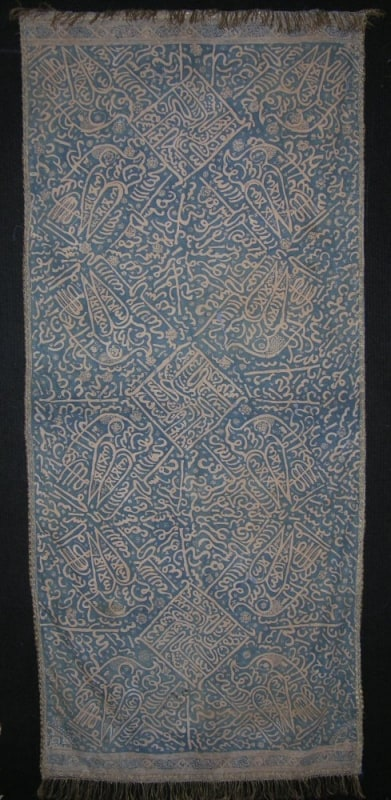 Caligraphy shawl from Sumatra, Indonesia exhibited by Tina Tabone
