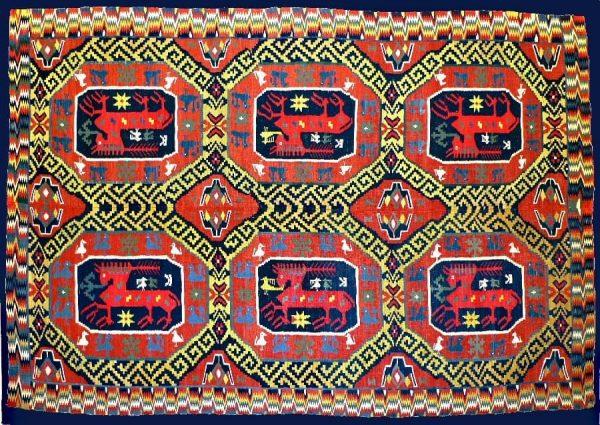 Skane flatweave tapestry, South Sweden, 18th century. Exhibitor SMY Motamedi.
