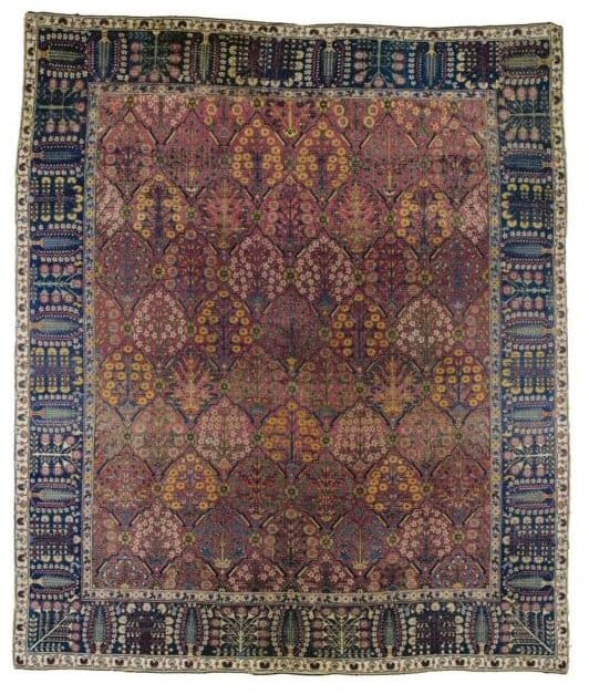 "Lot 467, a late 17th or early18th century Safavid ""Vase"" carpet. Size 357 by 302 cm."