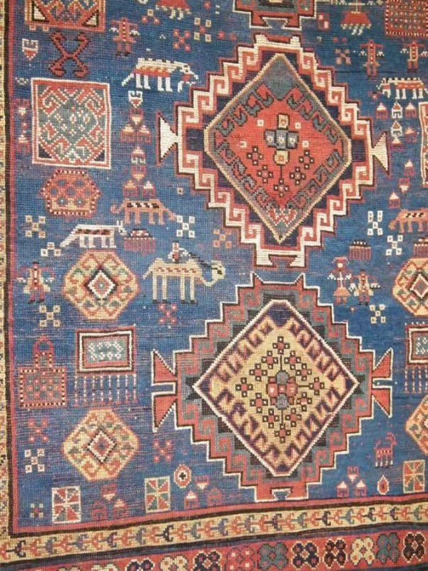 "Detail Caucasian Gendje ""a rug weavers cartoon"". Exhibitor Lars Nygaard."