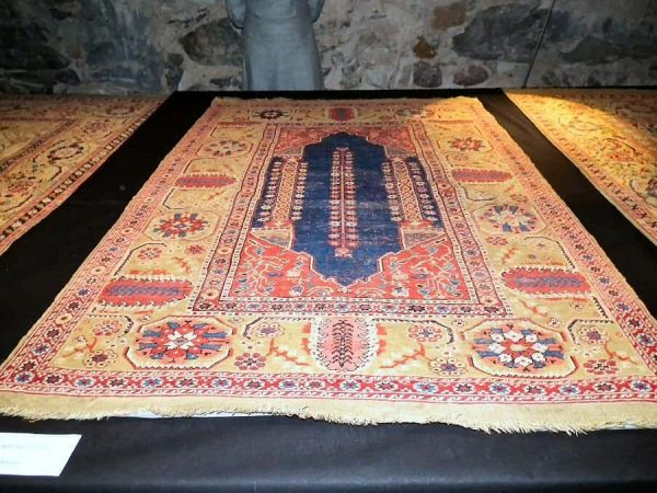 West Anatolian double-niche rug 17th century. (Anatolian rugs from Skokloster Castle)