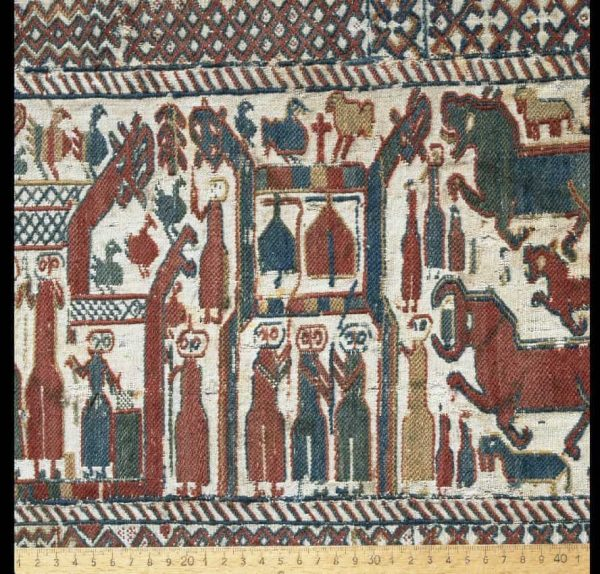 The Skog Church Tapestry is a 12th Century tapestry, from the Skog Church in Hälsingland, Sweden. Photo courtesy Gabriel Hildebrandt/The Museum of National Antiquities
