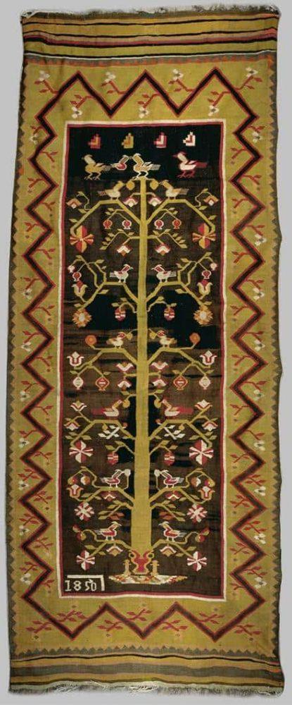 Tree of Life, Moldavian kilim, dated 1851, Dan Nasta Collection (Folk kilims from Romania)