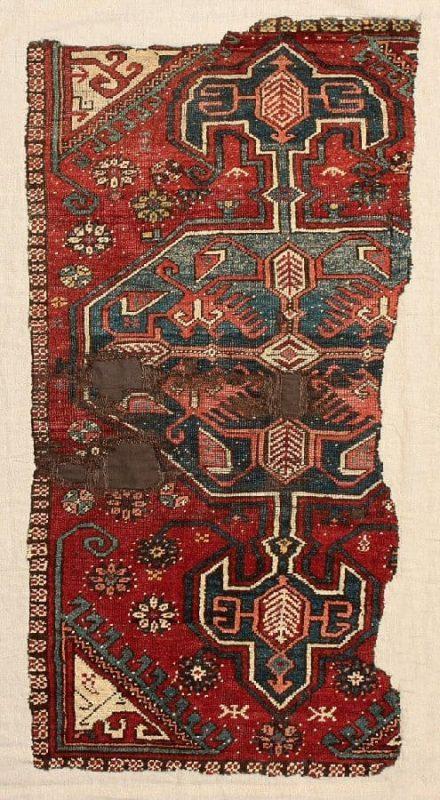Rug with octagonal medallion and pendants. Karapinar area Central Anatolia circa 1700. Size 190 x 98 cm (75 x 38.5 inches). Exhibitor Alberto Levi.