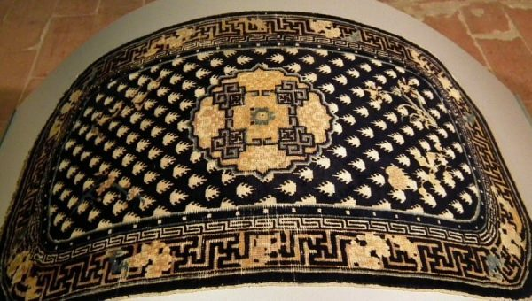 Ningxia top saddle rug last quarter 18th century. (Saddle rugs at the Sartirana Textile Show 2011 by Koos de Jong)