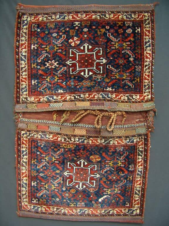 19th century SW Persian Khamseh Saddlebags. 2-5×3-9 (74x114cm). Exhibitor Michael Phillips.