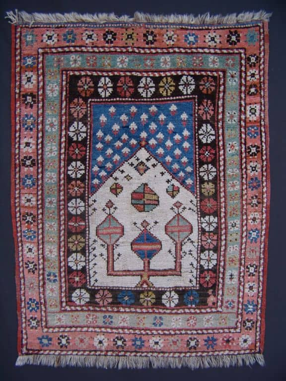 19th century West Anatolian Kozak Village prayer rug 2-8×3-6 (82x107cm). (Exhibitor Michael Phillips ARTS 2011)