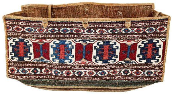 Lot 106, a mid 19th century Shahsavan mafrash. Size 43×105 cm. Estimate 12,000 EUR.