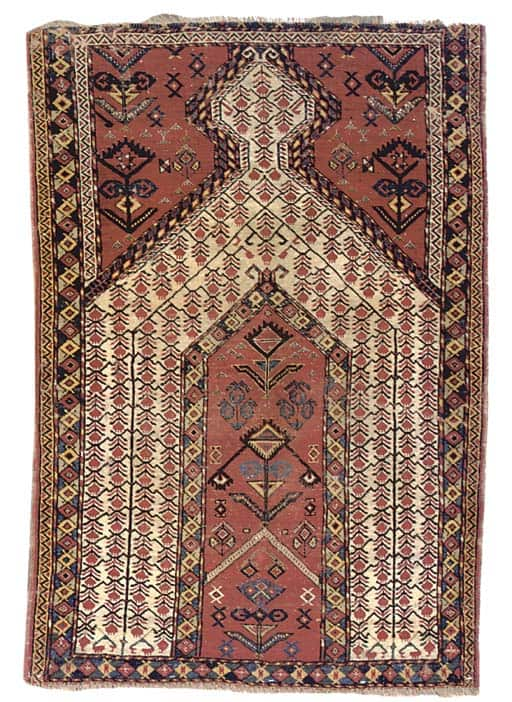 Beshir prayer rug. (Photo courtesy Christies, The prayer rug – a unity of symbol and ritual by Elmira Gyul)
