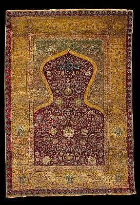 Kum Kapi silk metal thread prayer rug. Photo courtesy Bonhams.