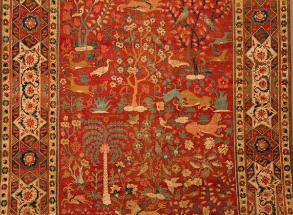 Detail of Carpet with Palm Trees, Ibexes, and Birds