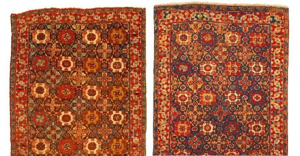 Surprising similarity of the Holbein-design rug (left) from the Nickle Arts Museum in Calgary, most probably a Tuduc, and the early 16th century Holbein from the Brukenthal Museum in Sibu (right).