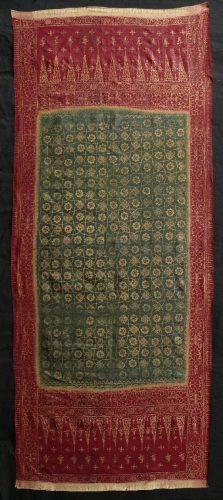 Lawon wedding shawl, Palembang, Sumatra, 19.cent silk resist dye with gold leaf application. Rare, Moghul influenced pattern. SF Tribal exhibitor Gallery Arabesque.