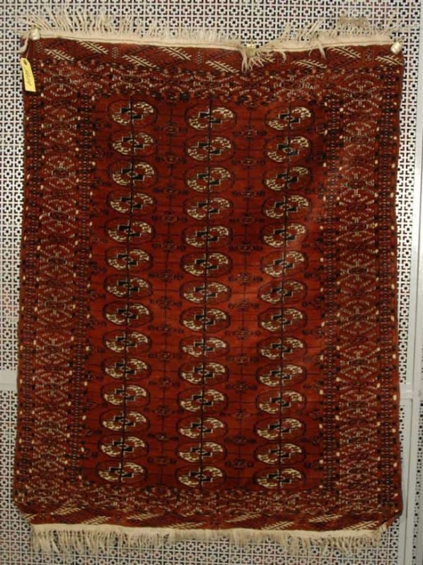 Lot 1070. TEKKE MAIN CARPET, Turkestan, circa 1880; 6 feet x 8 feet 8 inches Estimate $800-1,200