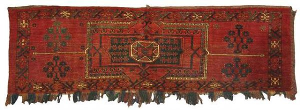 Lot 147. Ersari Torba with central ornament and four Sekis-Kelle-Göls, North Afghanistan, late 19th ct. Size 55 x 180 cm. Estimate 380 EUR