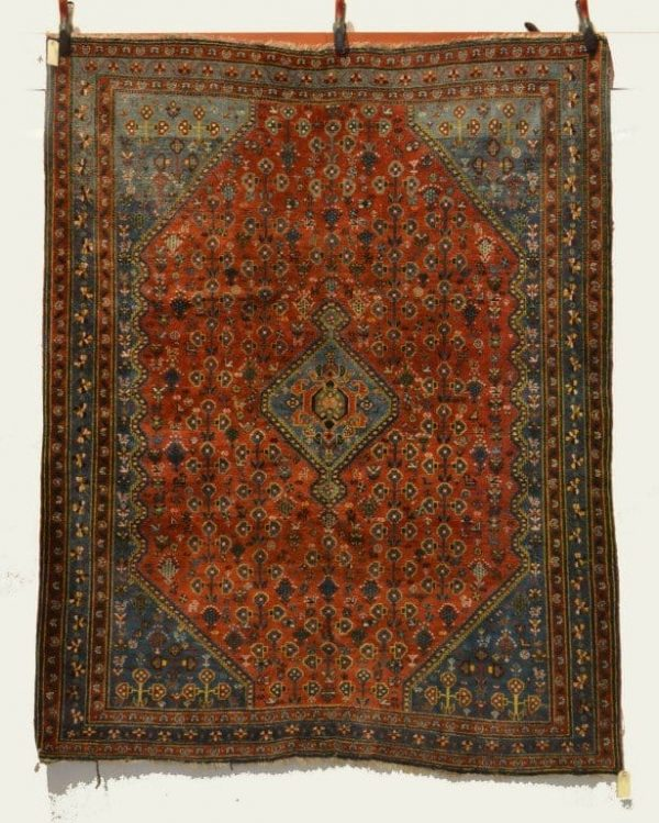 Lot 2037. A Neiriz rug, Fars, south west Persia, early 20th century, 6ft. 8in. x 5ft. 3in.2.03m. x 1.60m. £900-1200