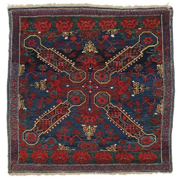 Lot 92. Seishour square rug ornamented with a single Seishour cross and two rows of Seishour roses, Kuba area, Caucasus, late 19th ct. Size 106 x 105 cm. Estimate 1,800 EUR