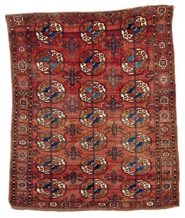 Lot 140. A Tekke rug, Central Asia, West Turkestan Dimensions: 152 x 129 cm Age: Mid 19th century Estimate: 2,300.00 €