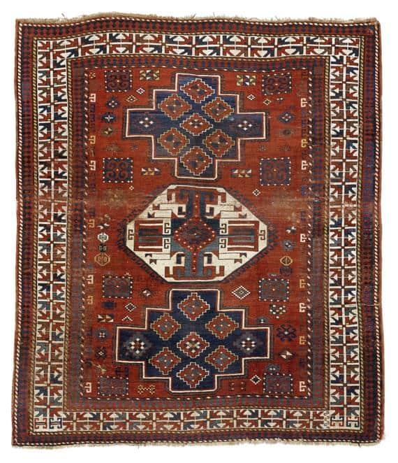 Lot 1475, an antique Caucasian Loripampak 195×225 cm. Estimate 580 – 750 EUR