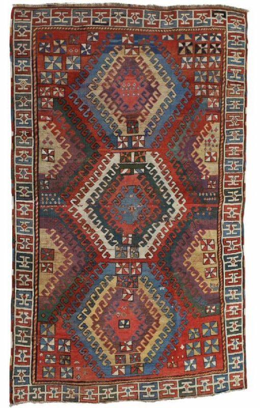 Lot 334, BORDJALOU, Western Caucasus, first half of the 19th century. 241×158 cm. Estimate 50.000 SEK
