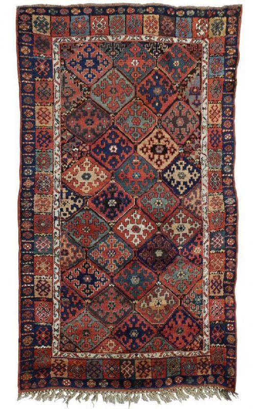 "Lot 339, KURD ""Shikak"", Northwestern Persia, around year 1875. 218×136 cm. Estimate 20.000 SEK"