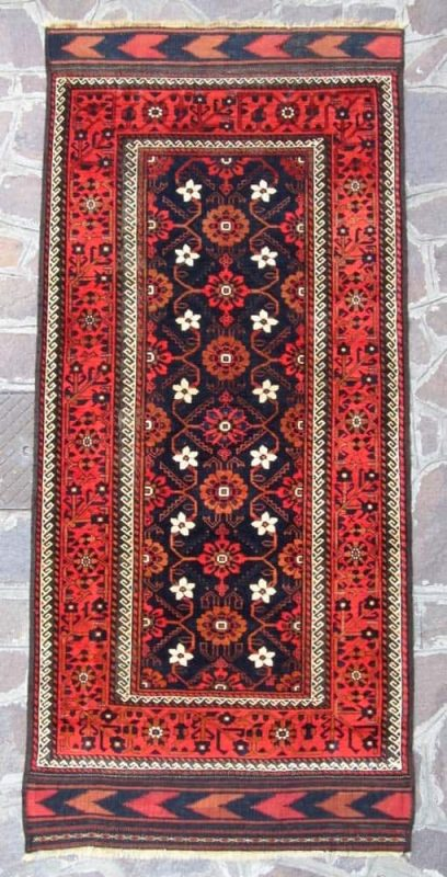 Belouch 4′ x 8'3 circa 1880 with original kilim ends. Exhibitor James Cohen