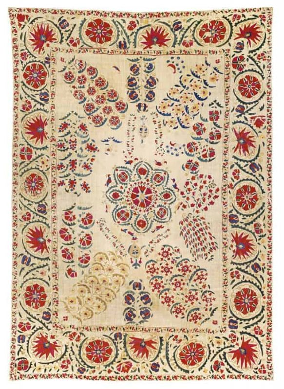 Mid 19th Nurata Suzani 225×159 cm, Uzbekistan. Exhibitor Serkan Sari