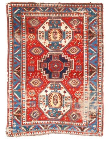 Lot 2. A KAZAK RUG, SOUTHWEST CAUCASUS Estimate: 5,000 - 7,000 USD approximately 7ft. 9in. by 5ft. 8in. (2.36 by 1.73m.) circa 1880