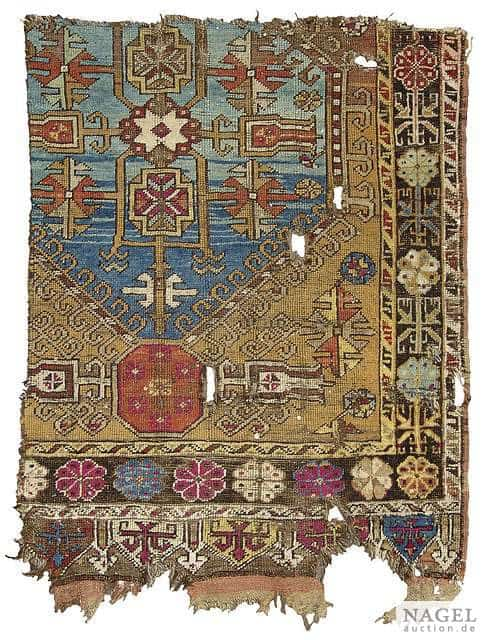 Fragment of a Central Anatolian long rug, 18th/19th century. Size 118 x 91 cm. (Nagel 11 September 2012)