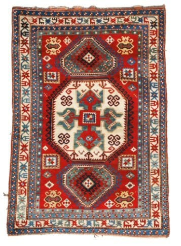 Lot 4. A LORI PAMBAK KAZAK RUG, SOUTHWEST CAUCASUS Estimate: 20,000 - 30,000 USD approximately 7ft. 8in. by 5ft. 5in. (2.34 by 1.65m.) circa 1900