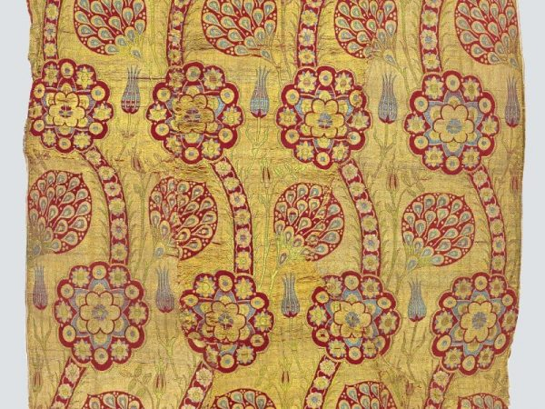 Fragment of yellow-ground kemhal, Istanbul, Second half 16th century. TM 1.47, Acquired by George Hewitt Myers in 1947.