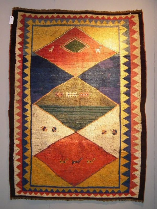 Antique Gabbeh rug exhibited by Gerbi
