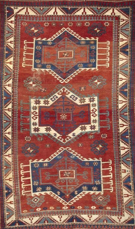 Lot 3078. A Kazak rug Caucasus late 19th century. size approximately 5ft. 9in. x 7ft. 7in. Estimate: US$ 5,500 – 7,500£3,500 – 4,700€4,000 – 5,500