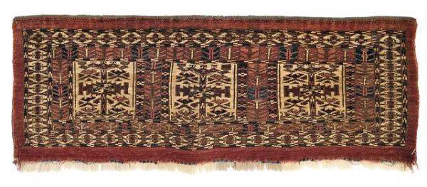 Lot 147, a Tekke Mafrash face, Turkmenistan, 2nd half 19th ct. Size 24 x 80 cm. Estimate 1,500 EUR