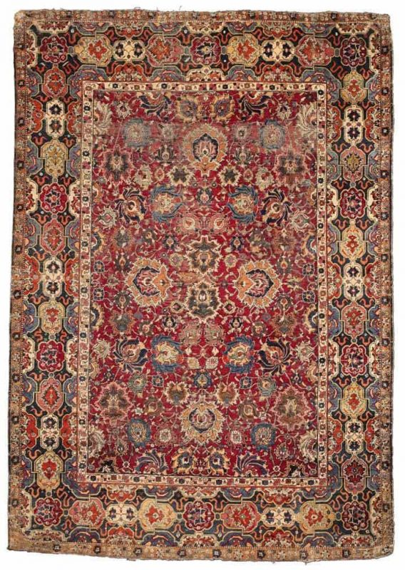 An Isfahan rug, Central Persia, 17th century. Size approximately 7ft. 1in. by 5ft. (2.16 by 1.52m.) Estimate $40,000-60,000