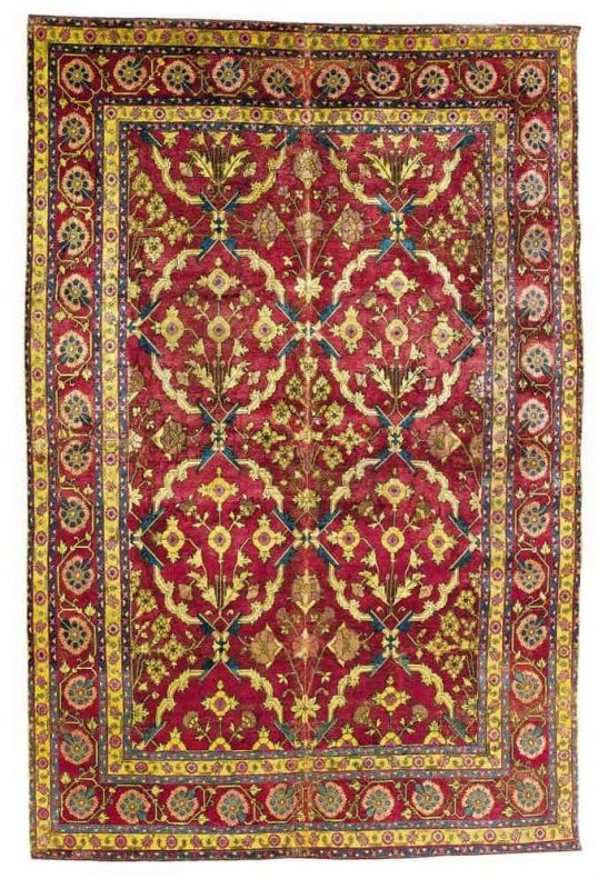 A Mughal silk rug, India, 17th century. Size approximately 7ft. 4in. by 5ft. 1in. (2.23 by 1.55m.) Estimate $40,000-60,000