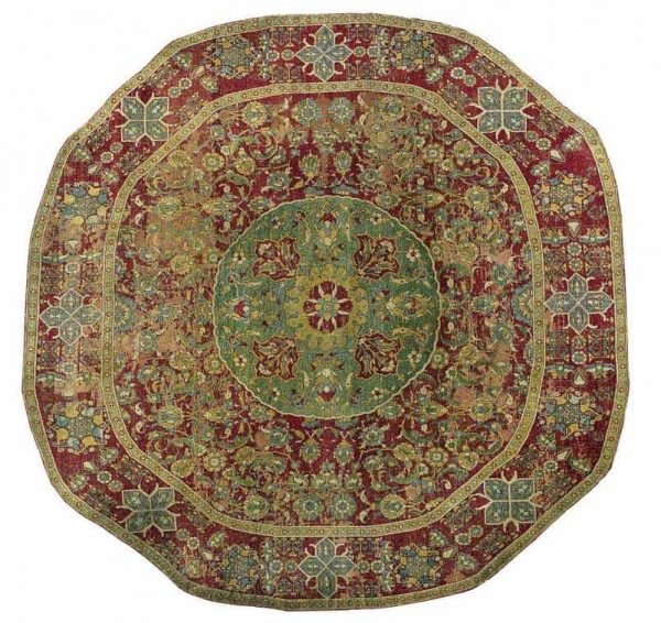 An Ottoman Cairene round carpet, Egypt, Second Half 16th Century. Size approximately 7ft. 4in. by 8ft. (2.23 by 2.44m.) Estimate $80,000-120,000
