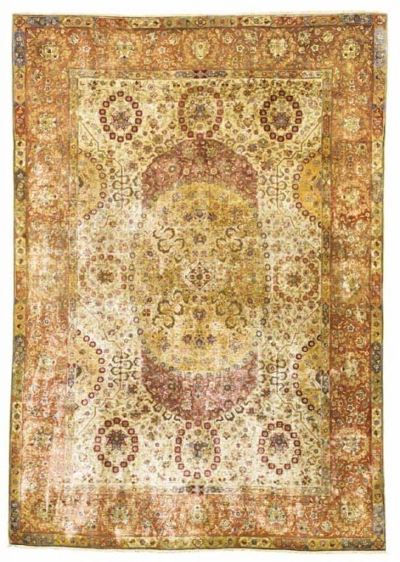 Lot 225, an Avedis Tamishjian Kum Kapi silk and metal thread rug, Istanbul circa 1920. Size approximately 6ft. 8in. by 4ft. 8in. (2.03 by 1.42m.). (Sothebys 24 April 2013)