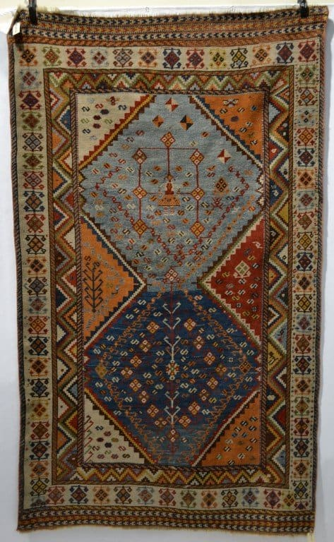 Lot 2080. A Qashqa'i gabbeh, Fars province, south west Persia, late 19th century, 7ft. 11in. x 4ft. 7in. 2.41m. x 1.40m. Estimate £1,300-1,500