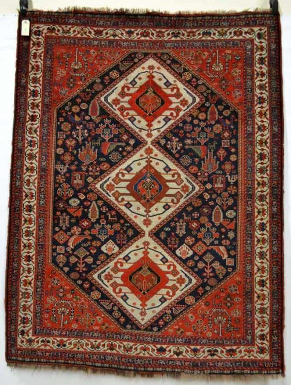 Lot 2087, Arab-Cherpanlu tireh of the Sheshboluki taifeh of the Qashqa'i Confderation, Fars, south west Persia, first quarter 20th century,5ft. 5in. x 4ft. 2in. 1.65m. x 1.27m. Estimate: £700-750