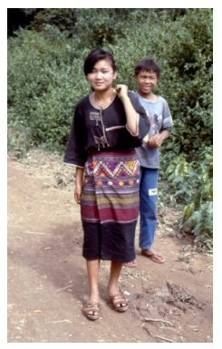 Lao woman on the way to market.