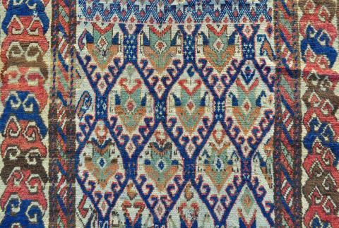 South Caucasian rug detail perhaps Kurdish Mete Mutlu - Less than two months to the Antique Rug & Textile Show