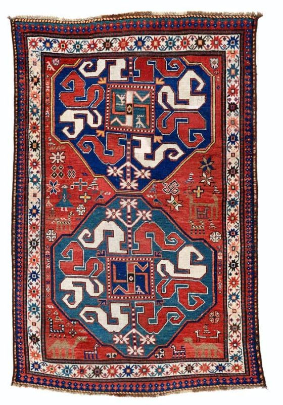 Lot 107, Chondzoresk Kazak, end of the 19th century, 182 x 116 cm. Estimate 1.200 EUR