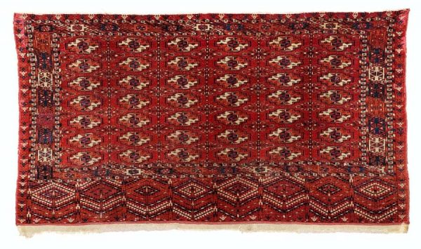 Lot 141, Tekke chuval, second half 19th century, 75×135 cm. Estimate 400 EUR